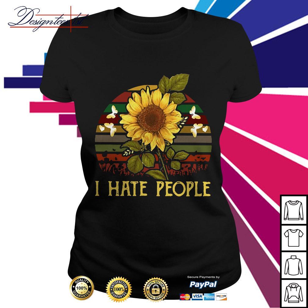 Sunflower I hate people vintage Ladies Tee