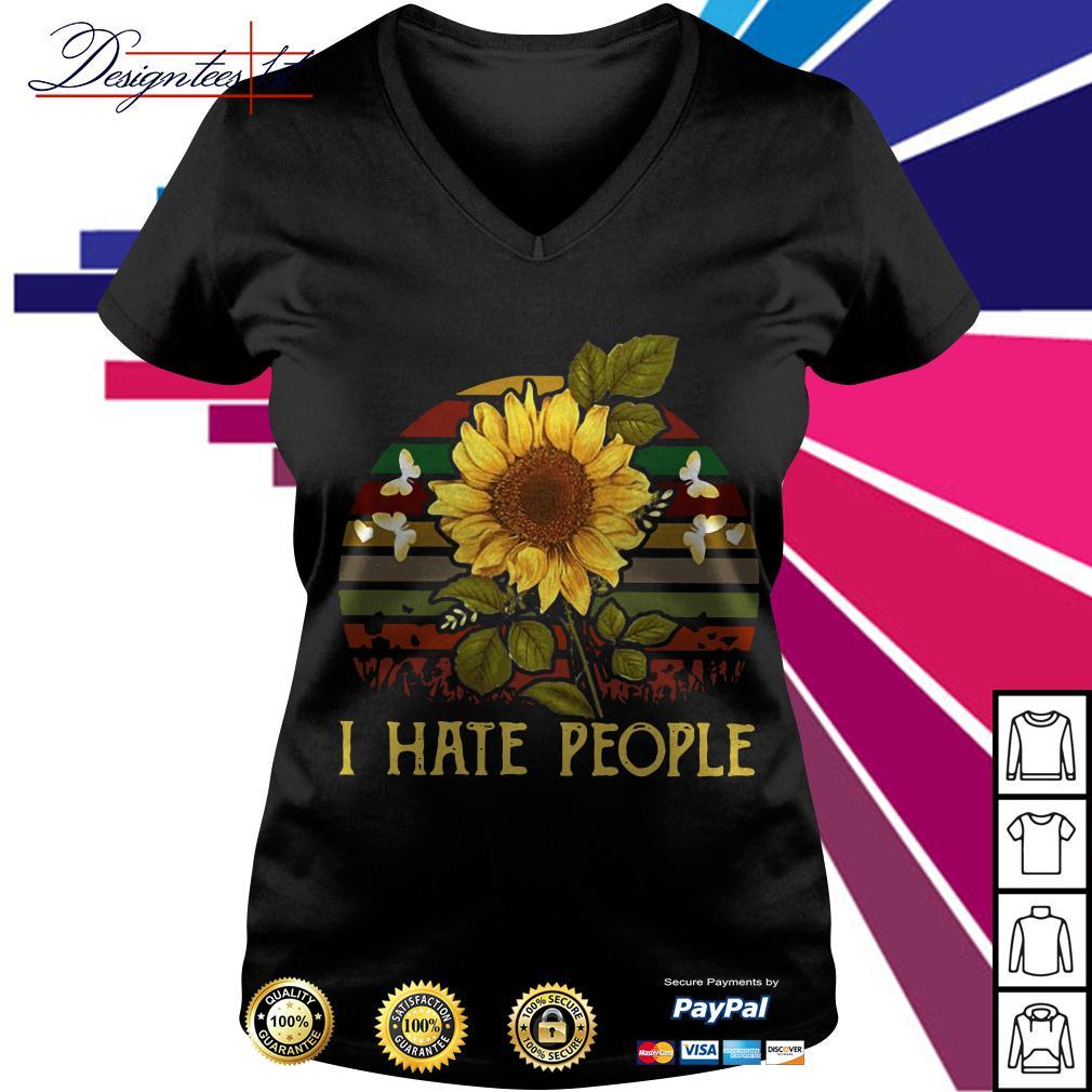 Sunflower I hate people vintage V-neck T-shirt