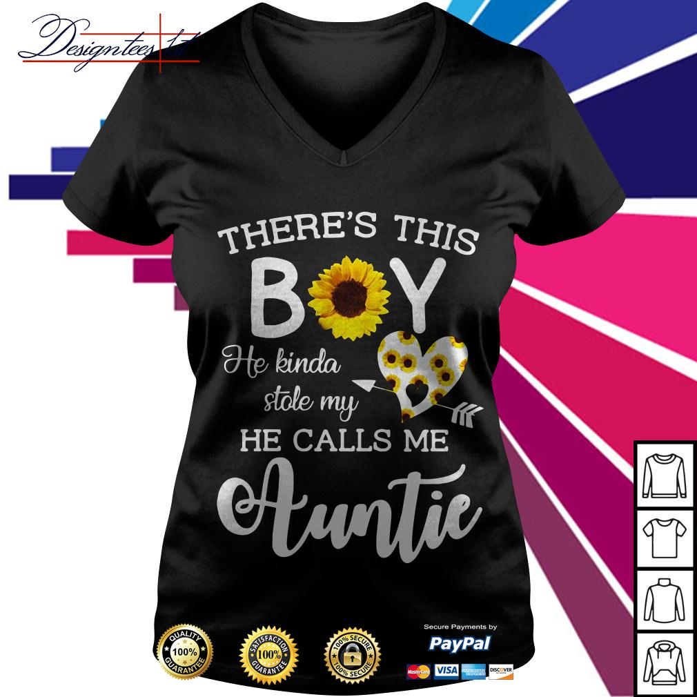 Sunflower there's this boy he kinda stole my heart he calls me auntie V-neck T-shirt