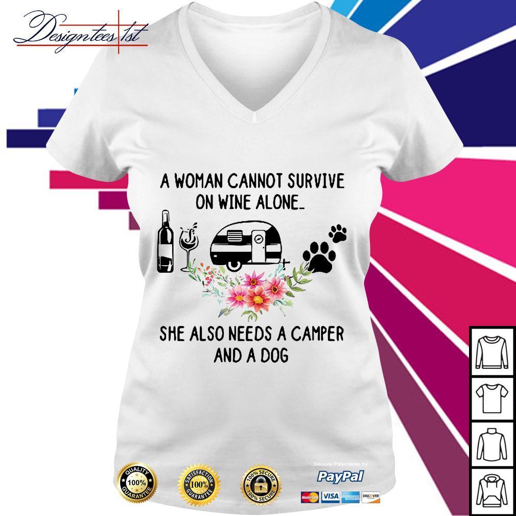 A Woman Cannot Survive on Wine Alone Lady Camper Women Sweatshirt tee
