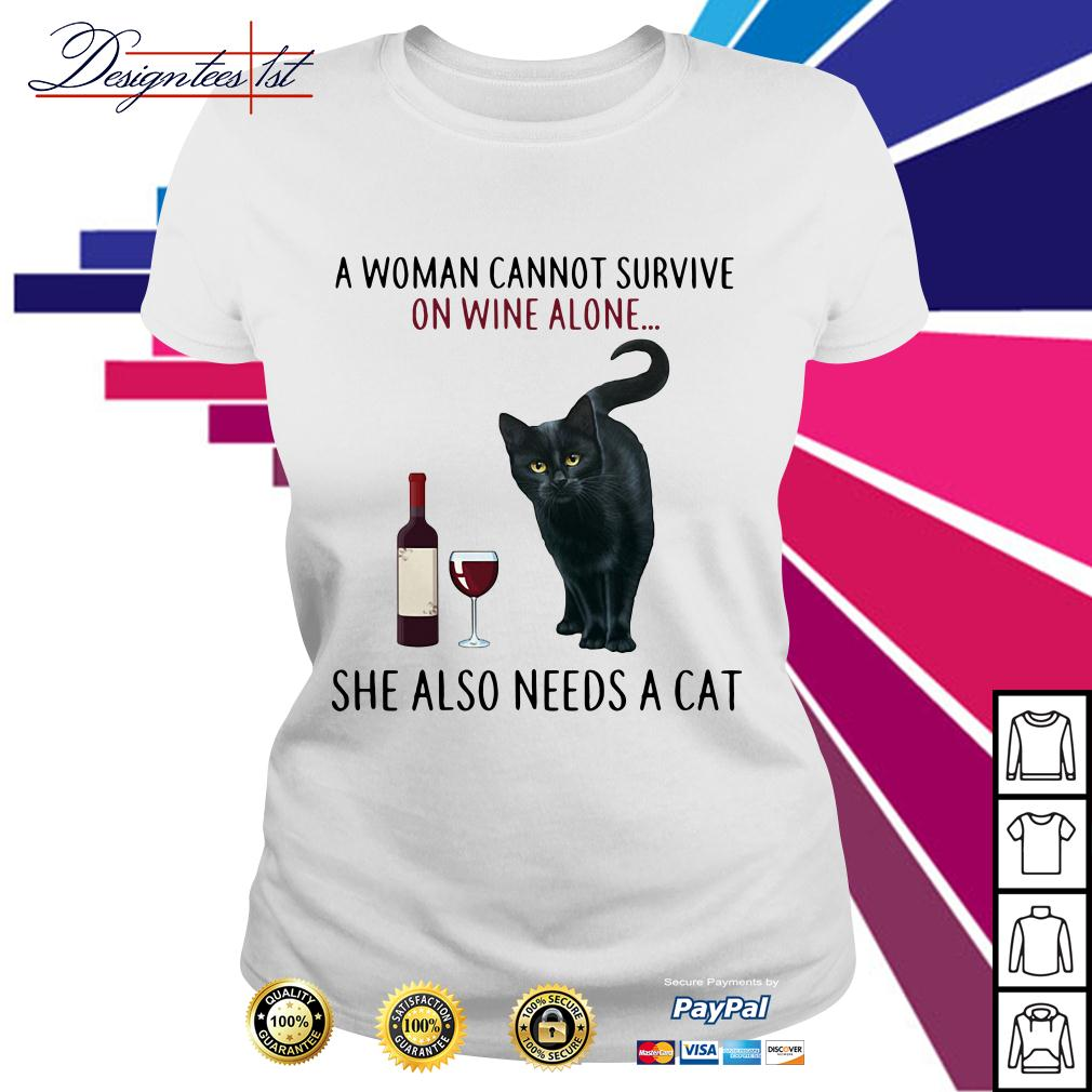 A woman cannot survive on wine alone she also needs a Cat Ladies Tee