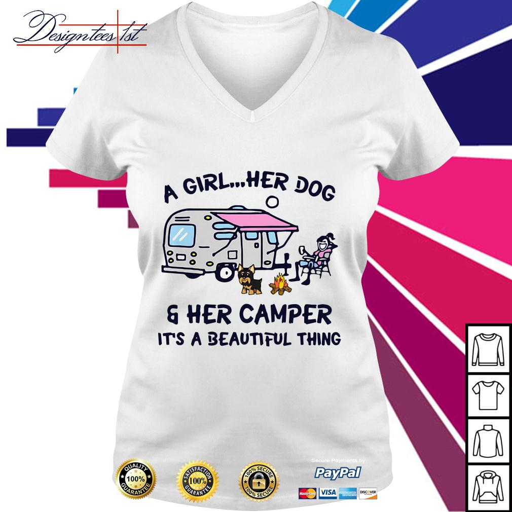 A girl her dog and her camper it's a beautiful thing V-neck T-shirt
