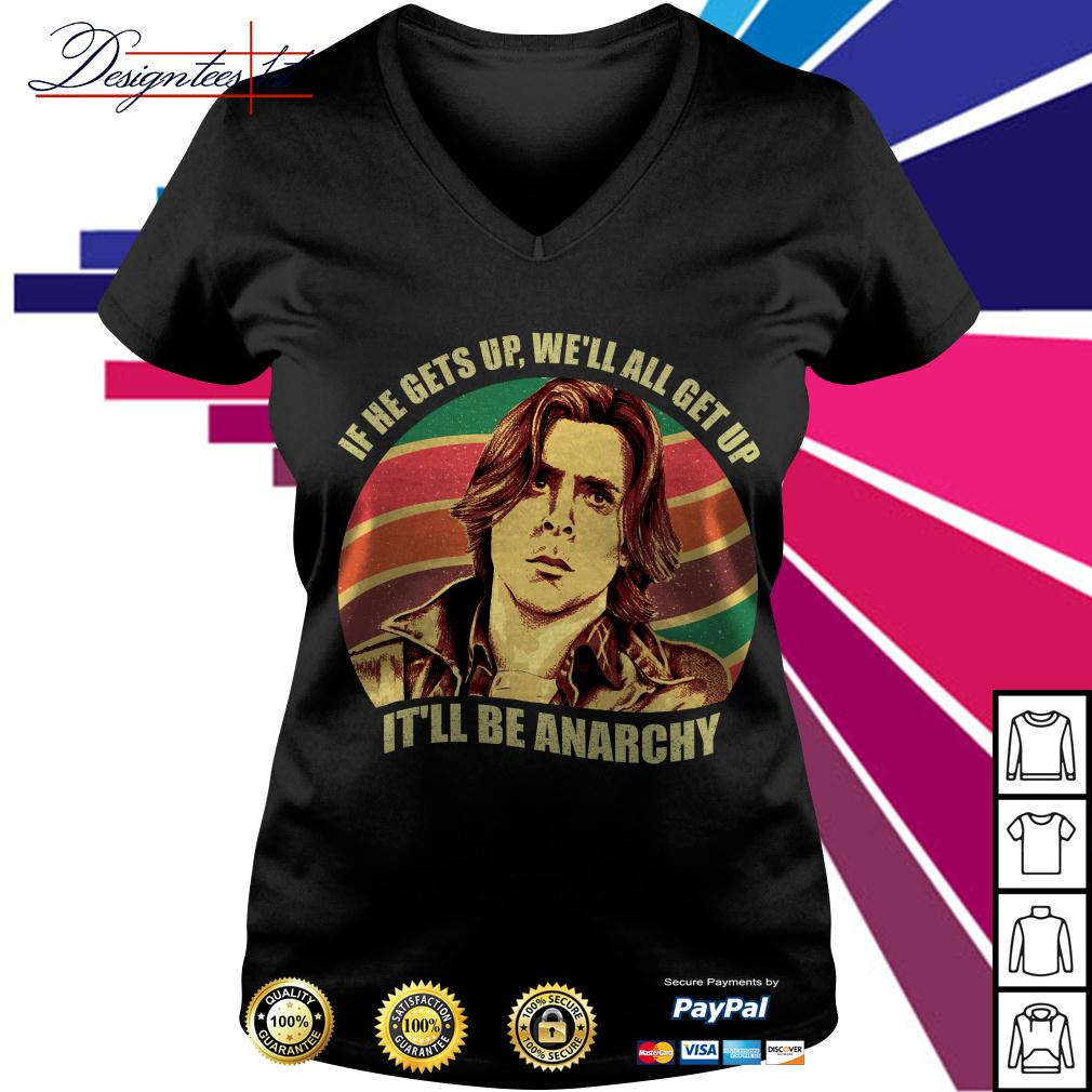 Anarchy Breakfast Club if he gets up we'll all get up it'll be Anarchy vintage V-neck T-shirt