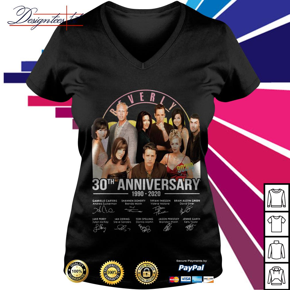 Beverly Hills 30th anniversary 1990-2020 signatures V-neck T-shirt