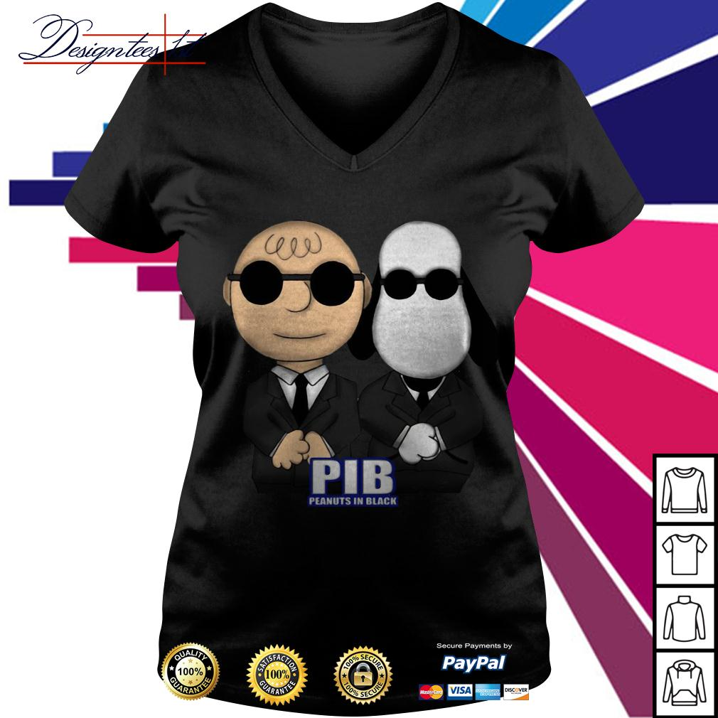 Charlie Brown and Snoopy PIB Peanuts in black men in black V-neck T-shirt