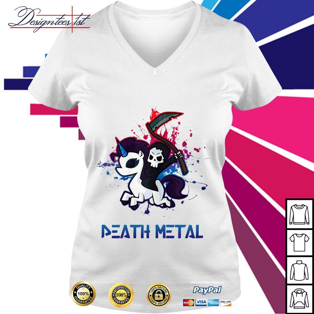 Death riding unicorn death metal V-neck T-shirt