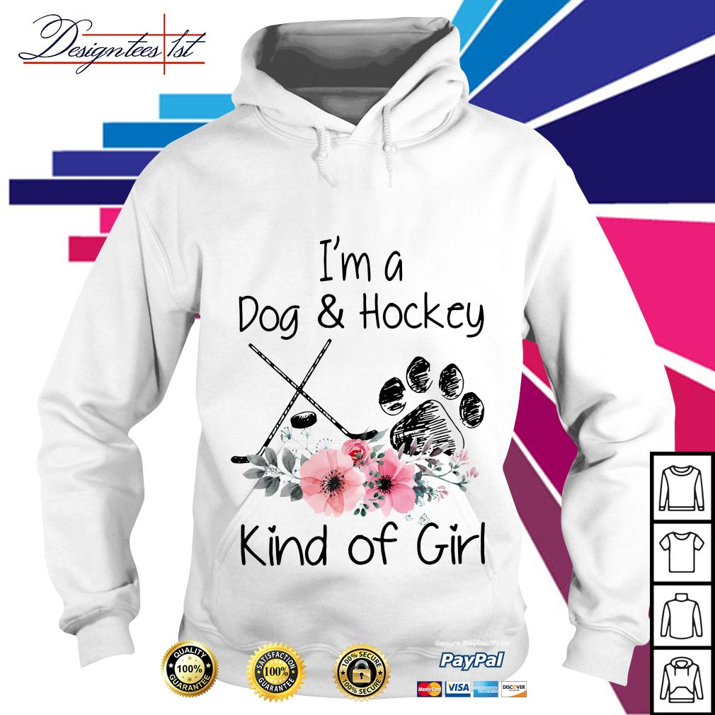 Floral I'm a dog and hockey kind of girl Hoodie