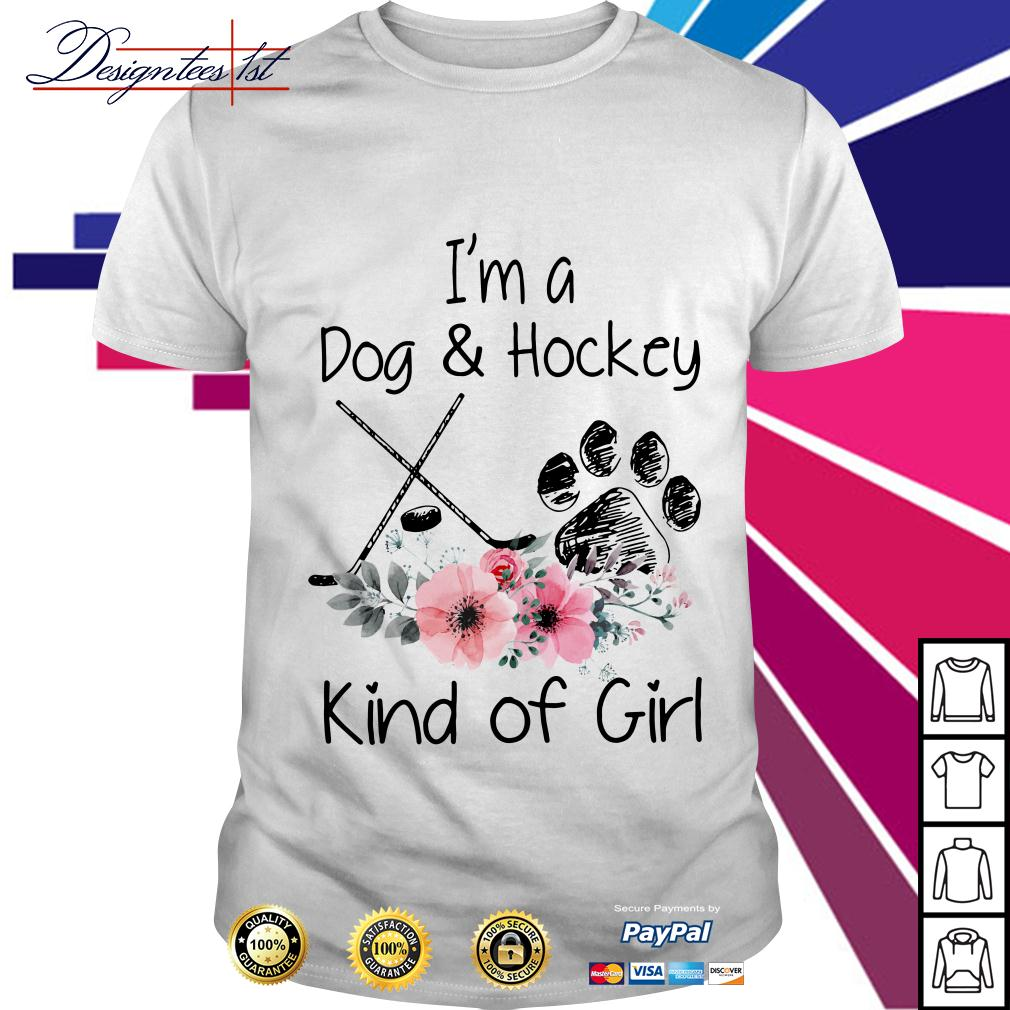 Floral I'm a dog and hockey kind of girl shirt
