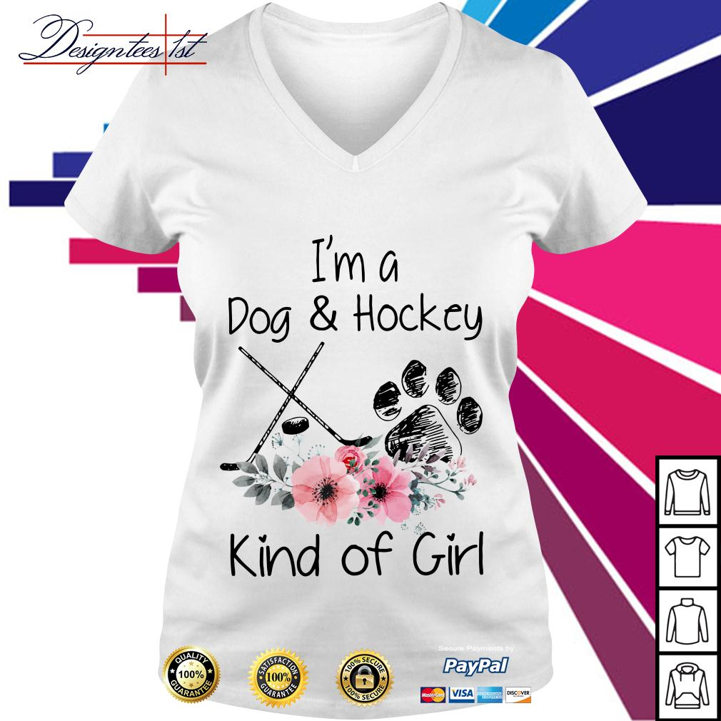 Floral I'm a dog and hockey kind of girl V-neck T-shirt