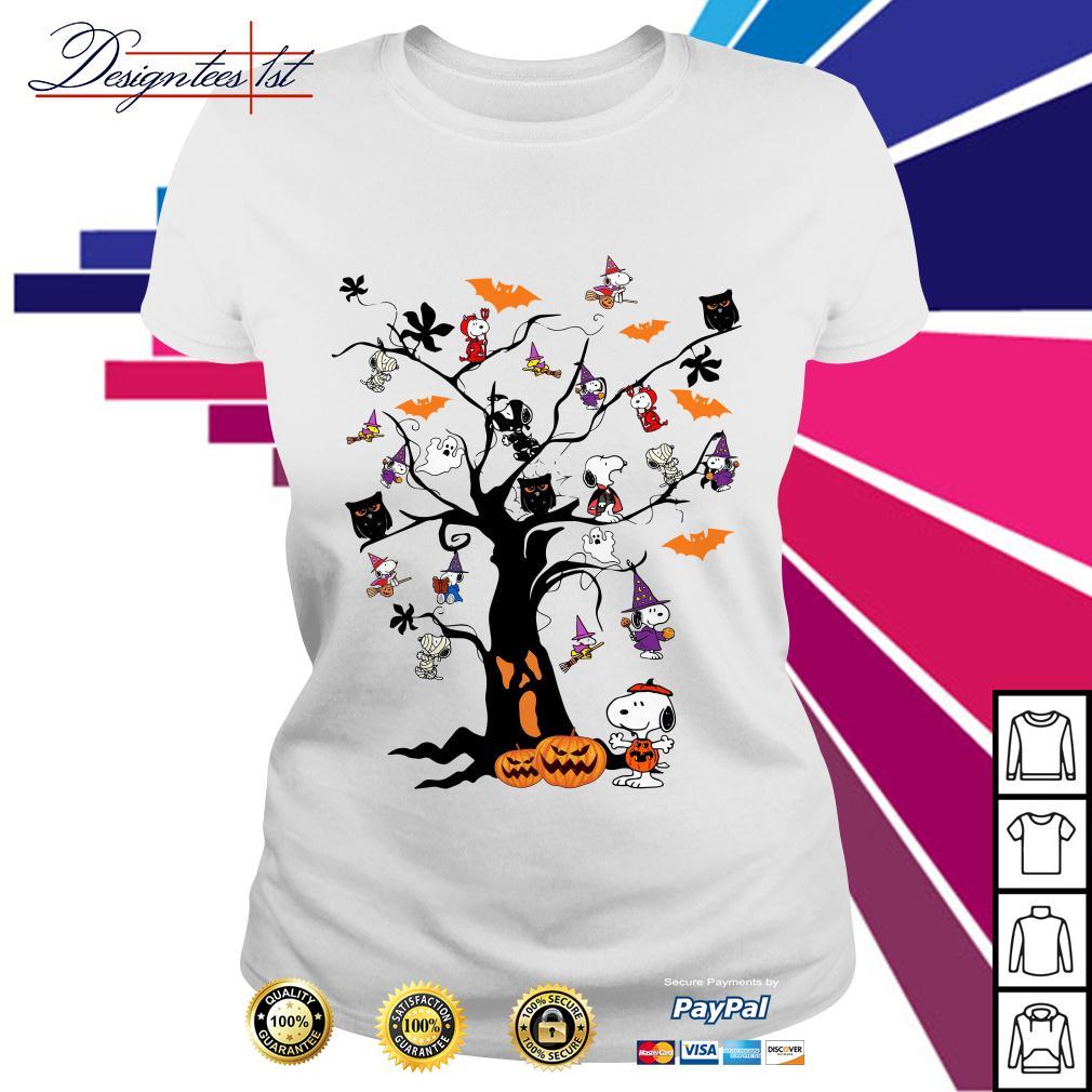 Halloween Snoopy pumpkin tree Ladies Tee