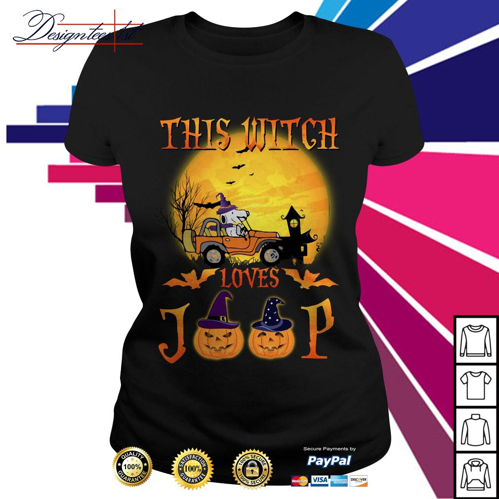Halloween Snoopy this witch loves jeep Ladies Tee
