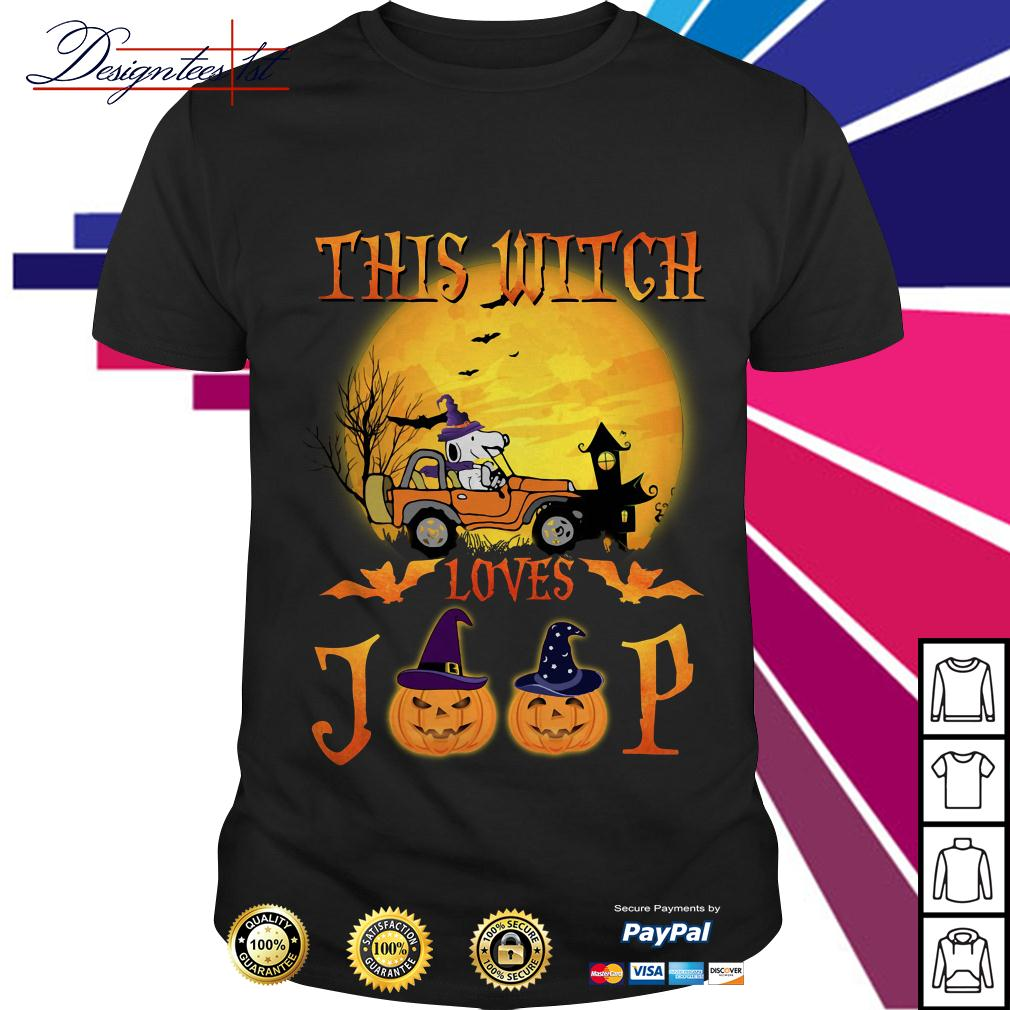 Halloween Snoopy this witch loves jeep shirt