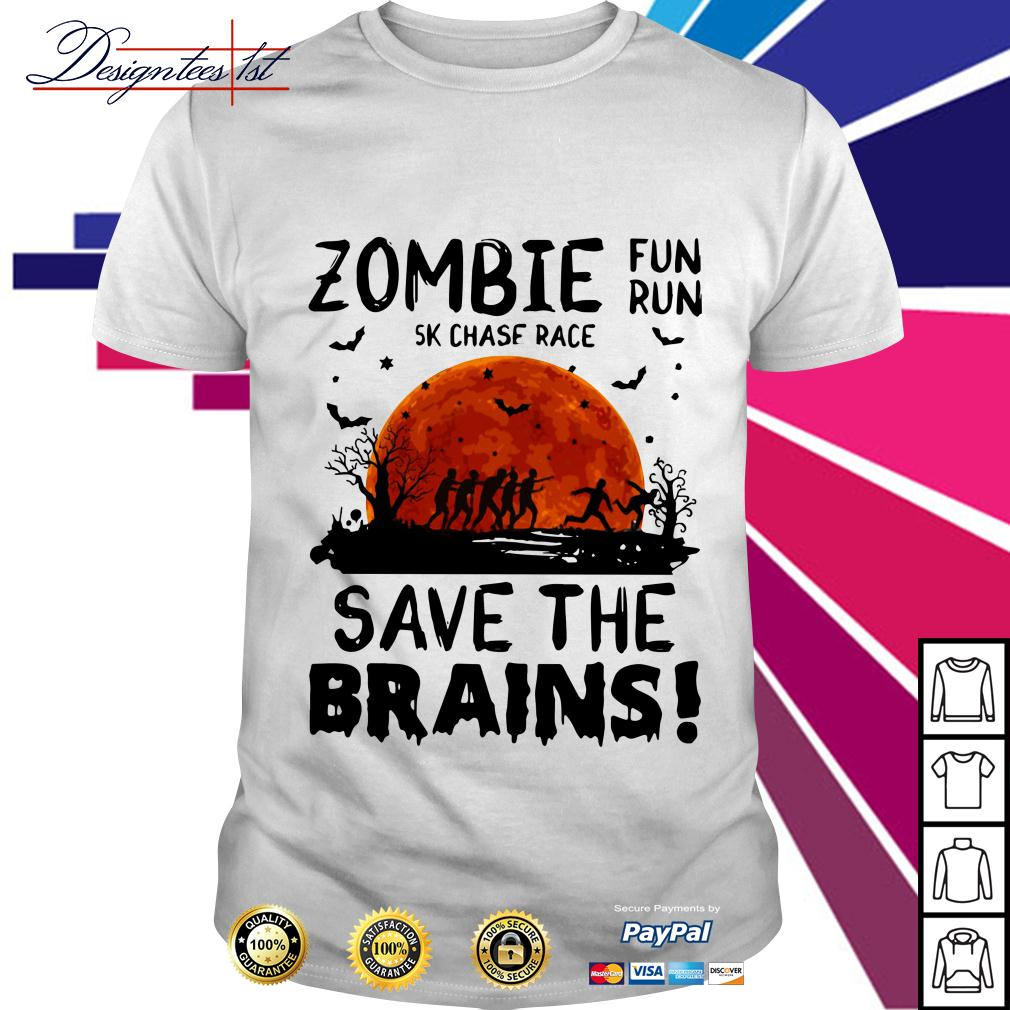 Halloween zombie fun run 5k chase race save the brains shirt