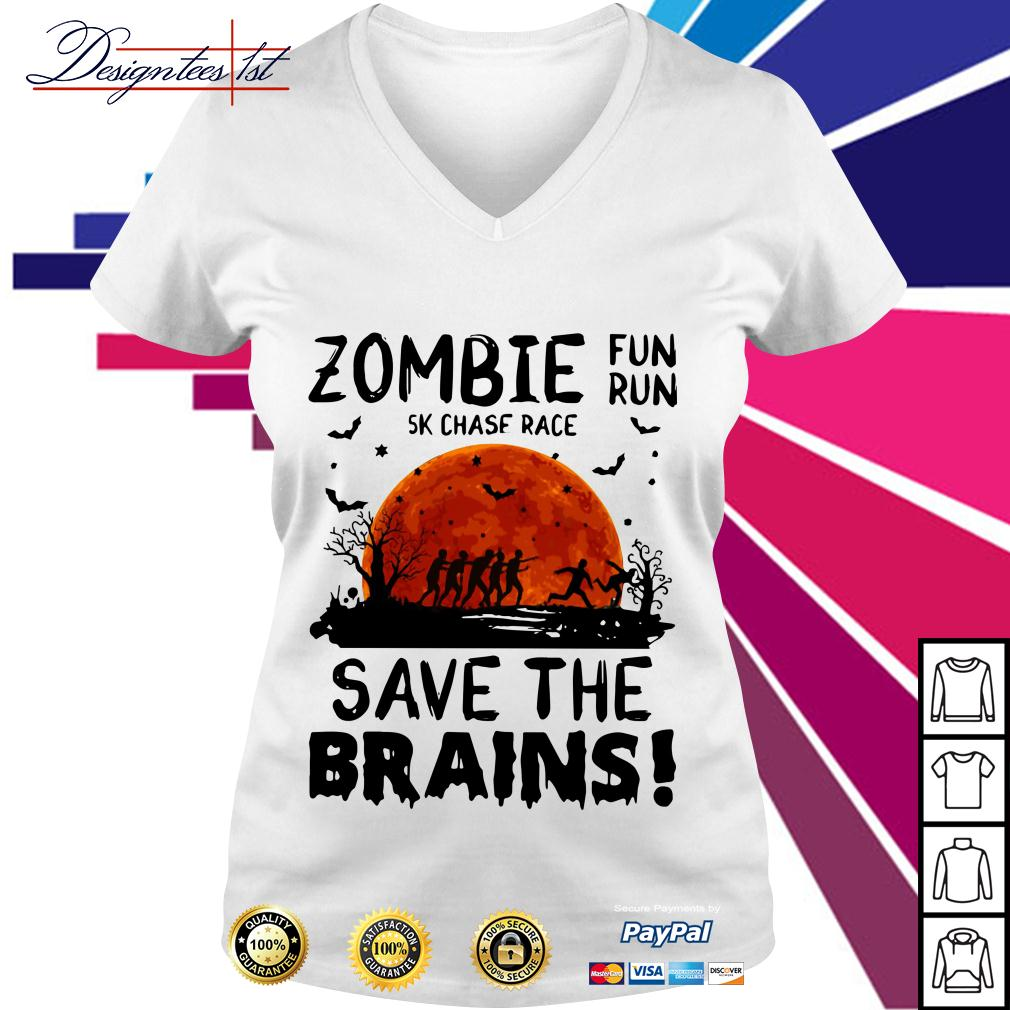 Halloween zombie fun run 5k chase race save the brains V-neck T-shirt