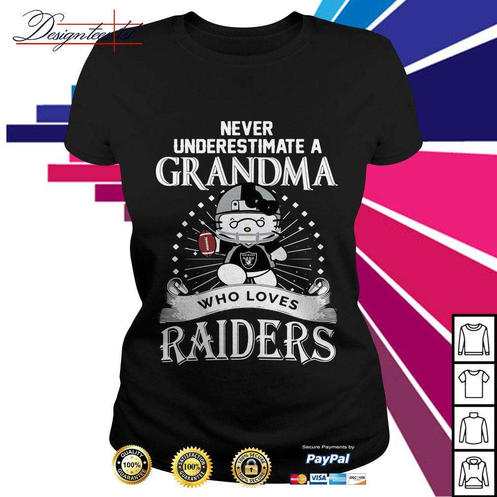 Kitty never underestimate a grandma who loves Raiders Ladies Tee