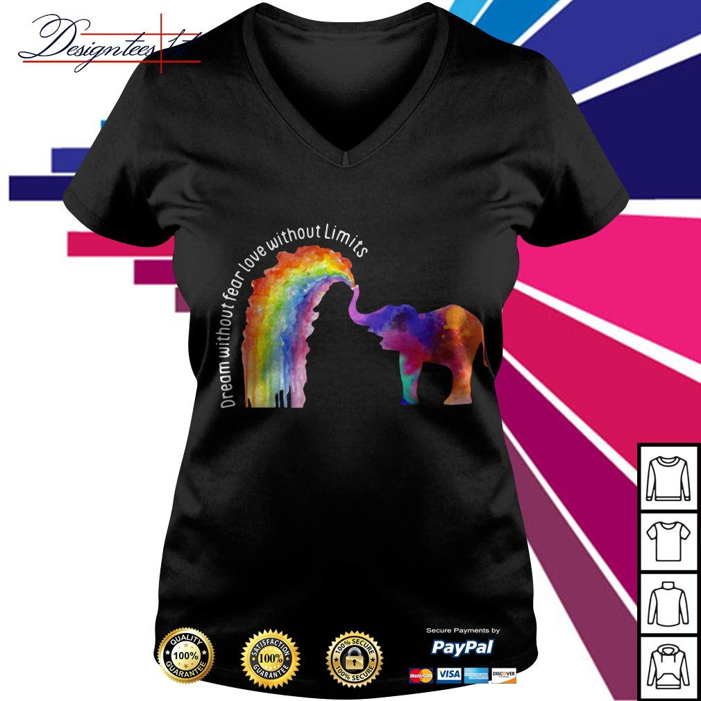 LGBT elephant dream without fear love without limits V-neck T-shirt