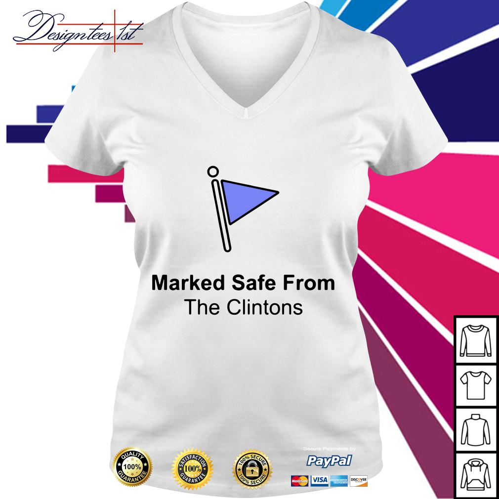 Marked safe from the Clintons V-neck T-shirt