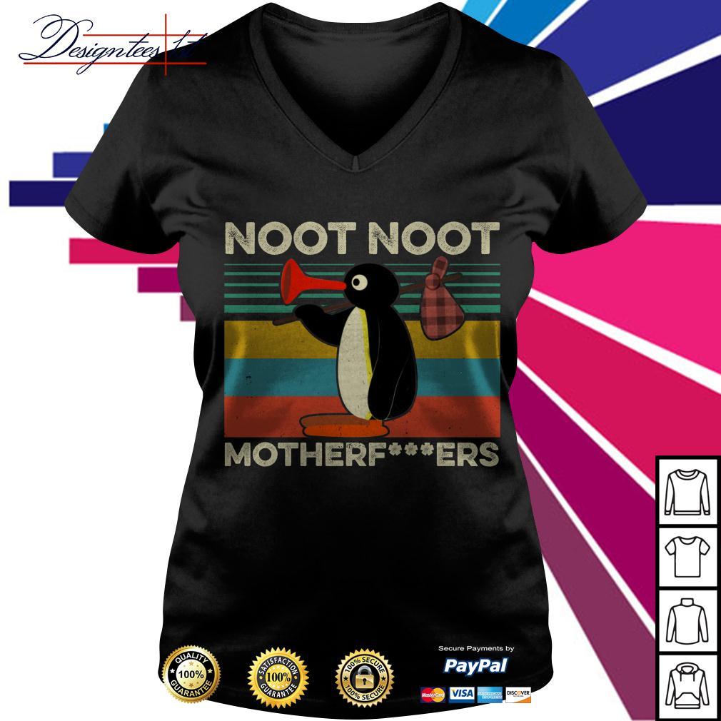 Pingu noot noot motherfers vintage V-neck T-shirt