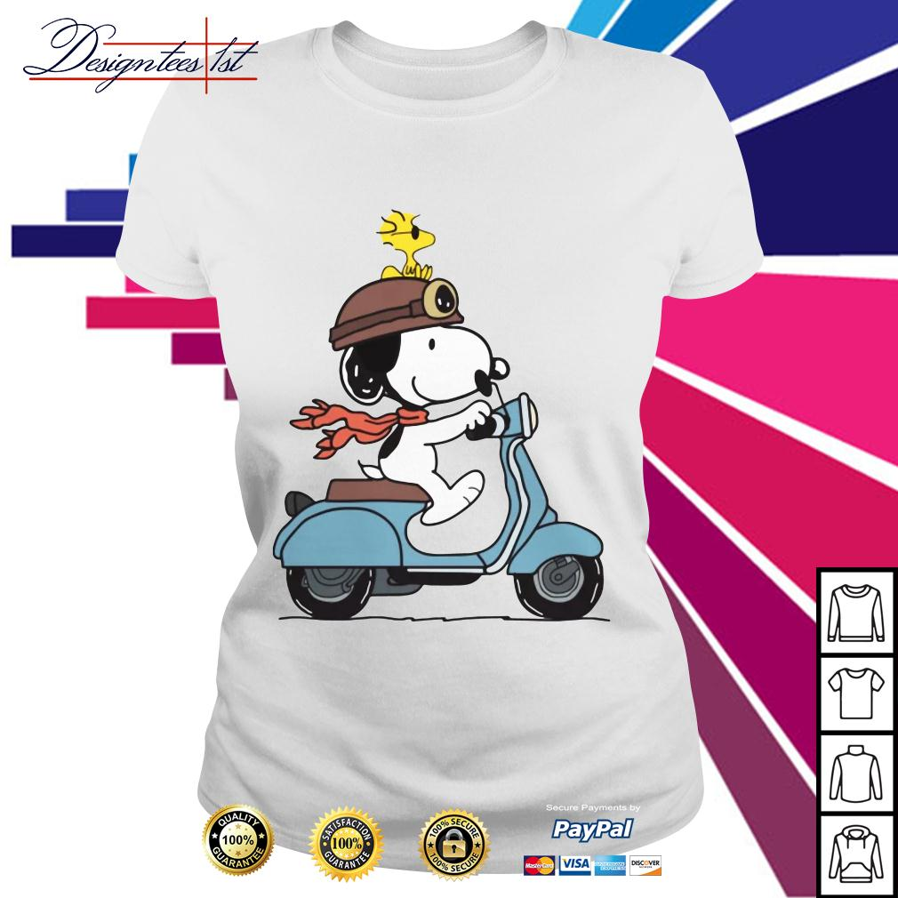 Snoopy and Woodstock on a Vespa Ladies Tee