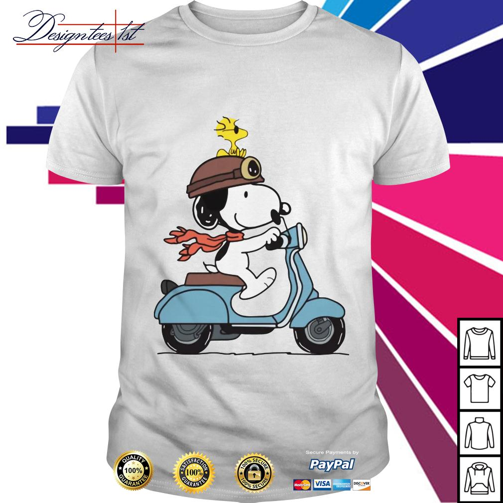Snoopy and Woodstock on a Vespa shirt
