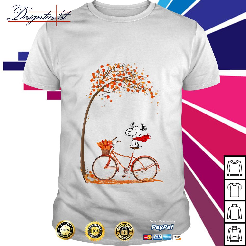 Snoopy riding bicycle autumn leaf tree shirt