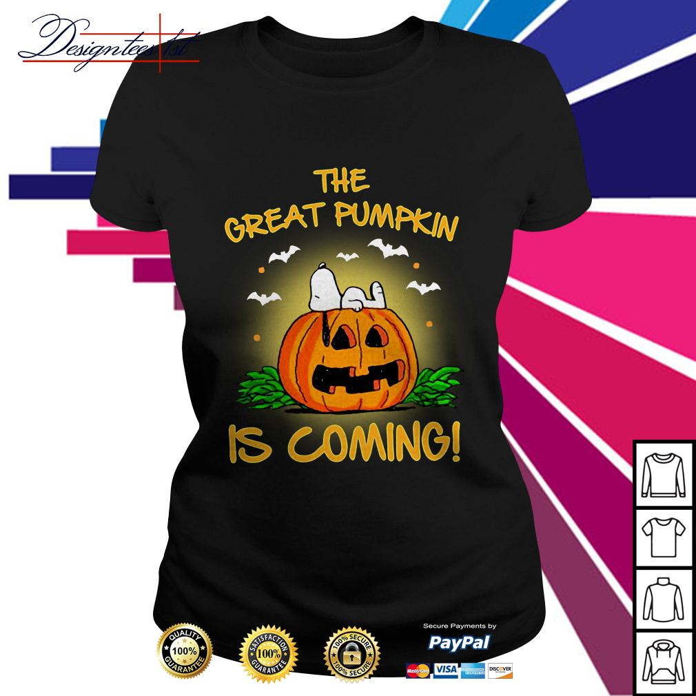 Snoopy the great pumpkin is coming Ladies Tee