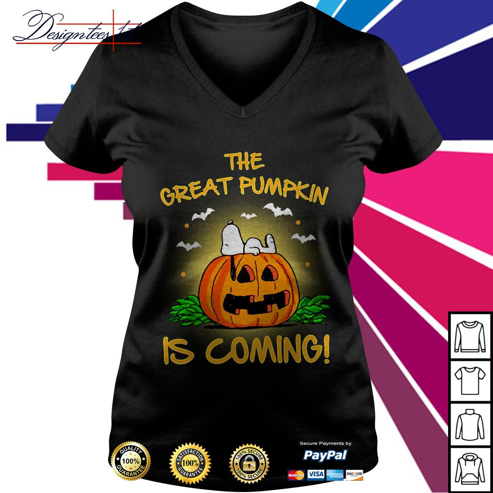 Snoopy the great pumpkin is coming V-neck T-shirt