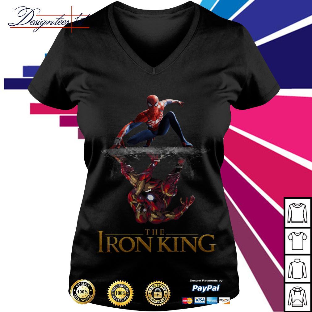 Spider-Man reflection Iron Man The Iron King V-neck T-shirt