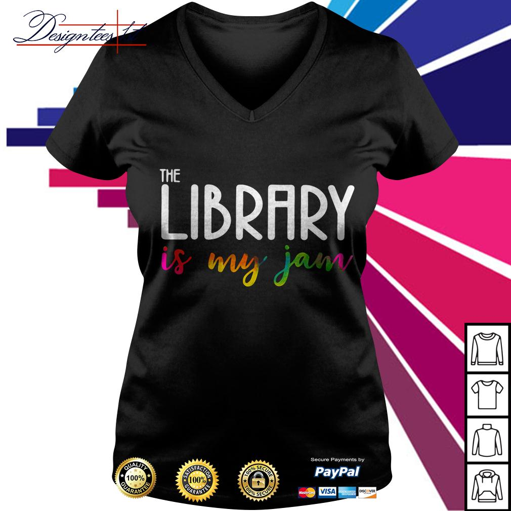 The library is my jam V-neck T-shirt
