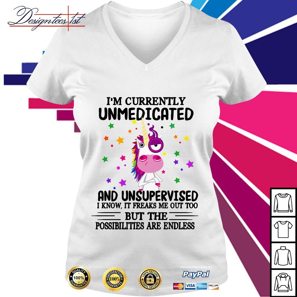 Unicorn I'm currently unmedicated and unsupervised V-neck T-shirt