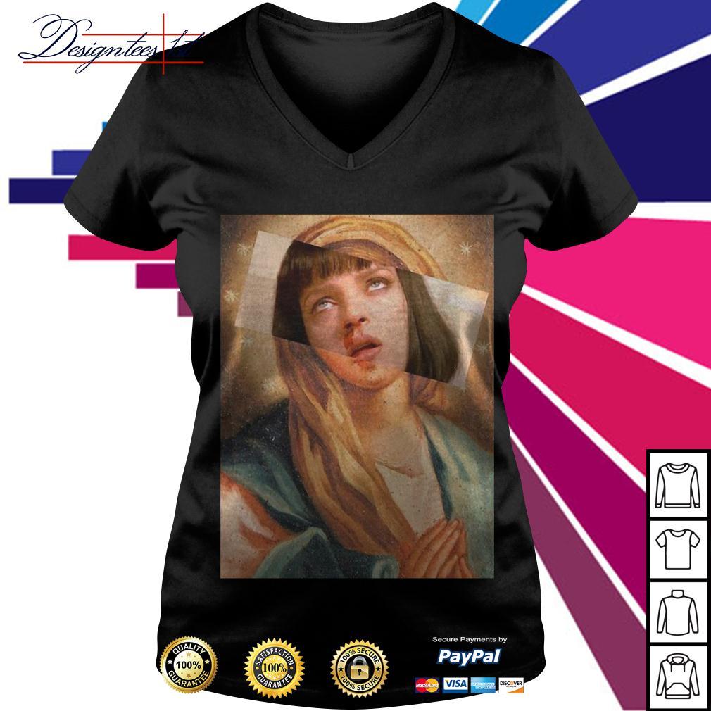 Virgin Mary mixed Pulp Fiction V-neck T-shirt