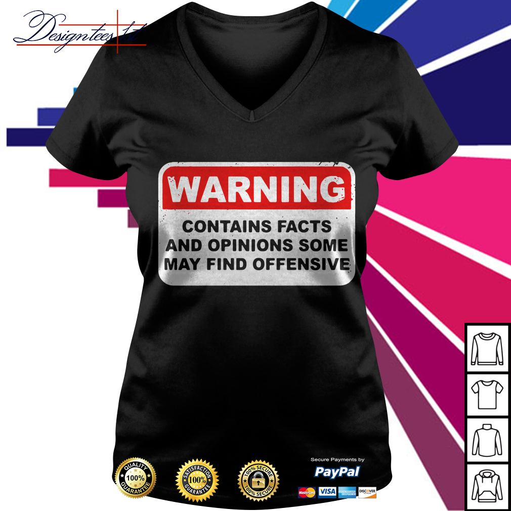 Warning contains facts and opinions some may find offensive V-neck T-shirt