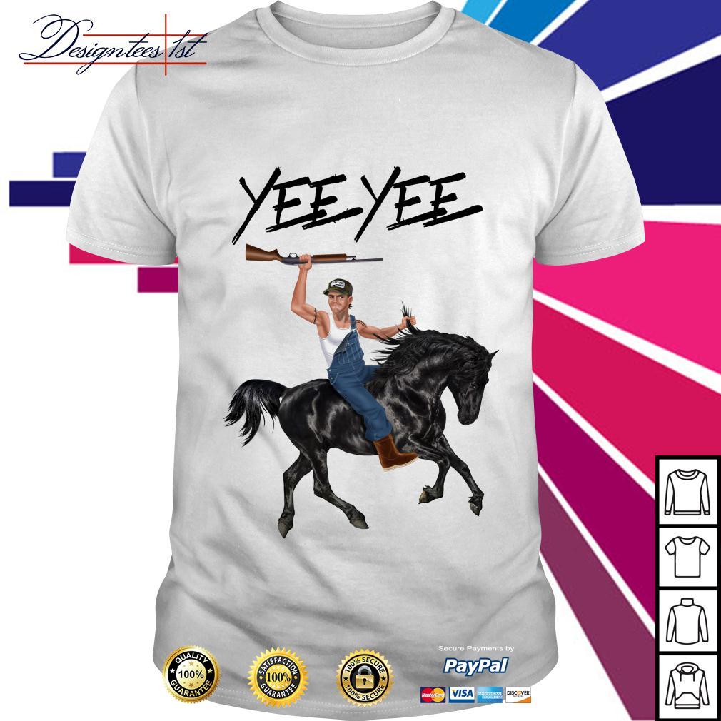 Yee Yee Granger Smith riding horse with hold gun shirt