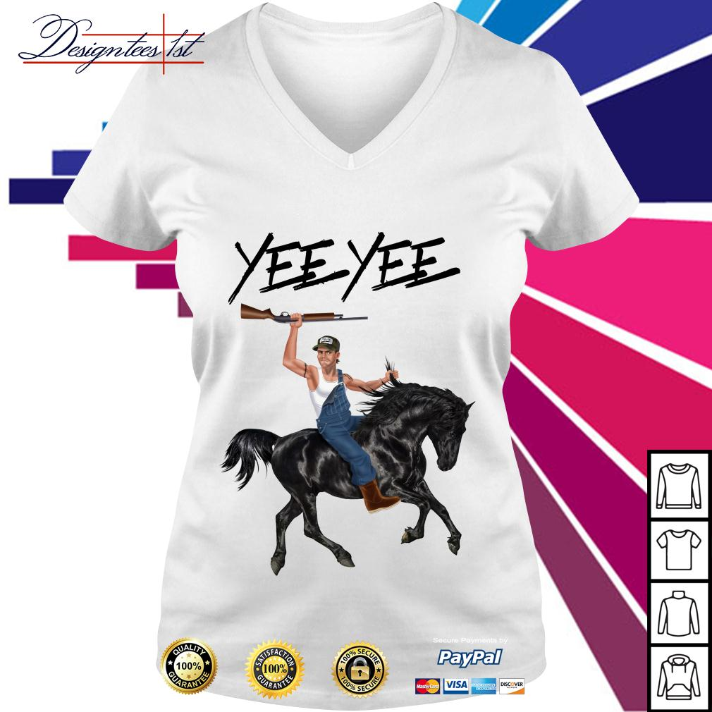 Yee Yee Granger Smith riding horse with hold gun V-neck T-shirt