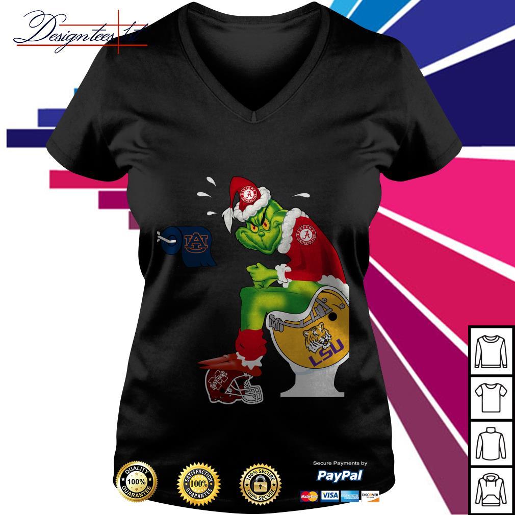 Alabama Crimson tide Santa Grinch toilet V-neck T-shirt