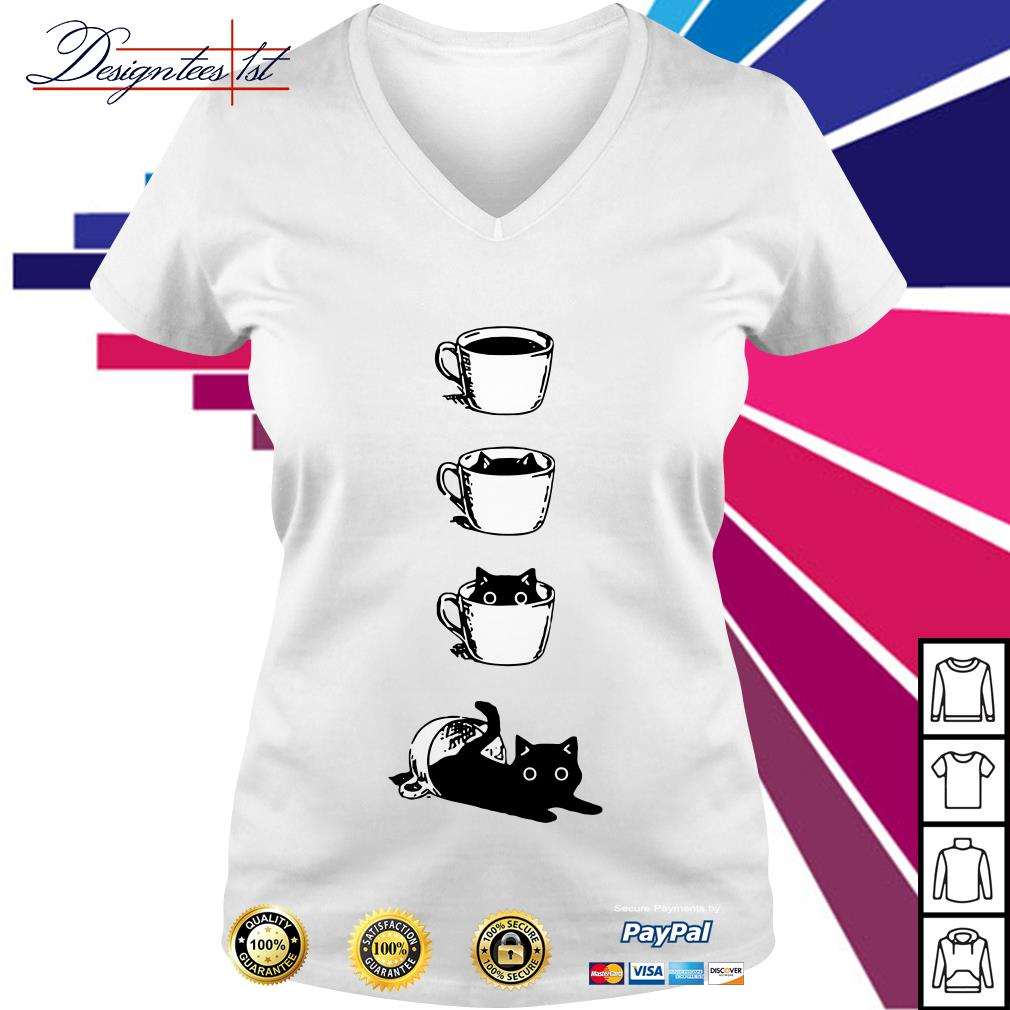 Cat in the cup V-neck T-shirt