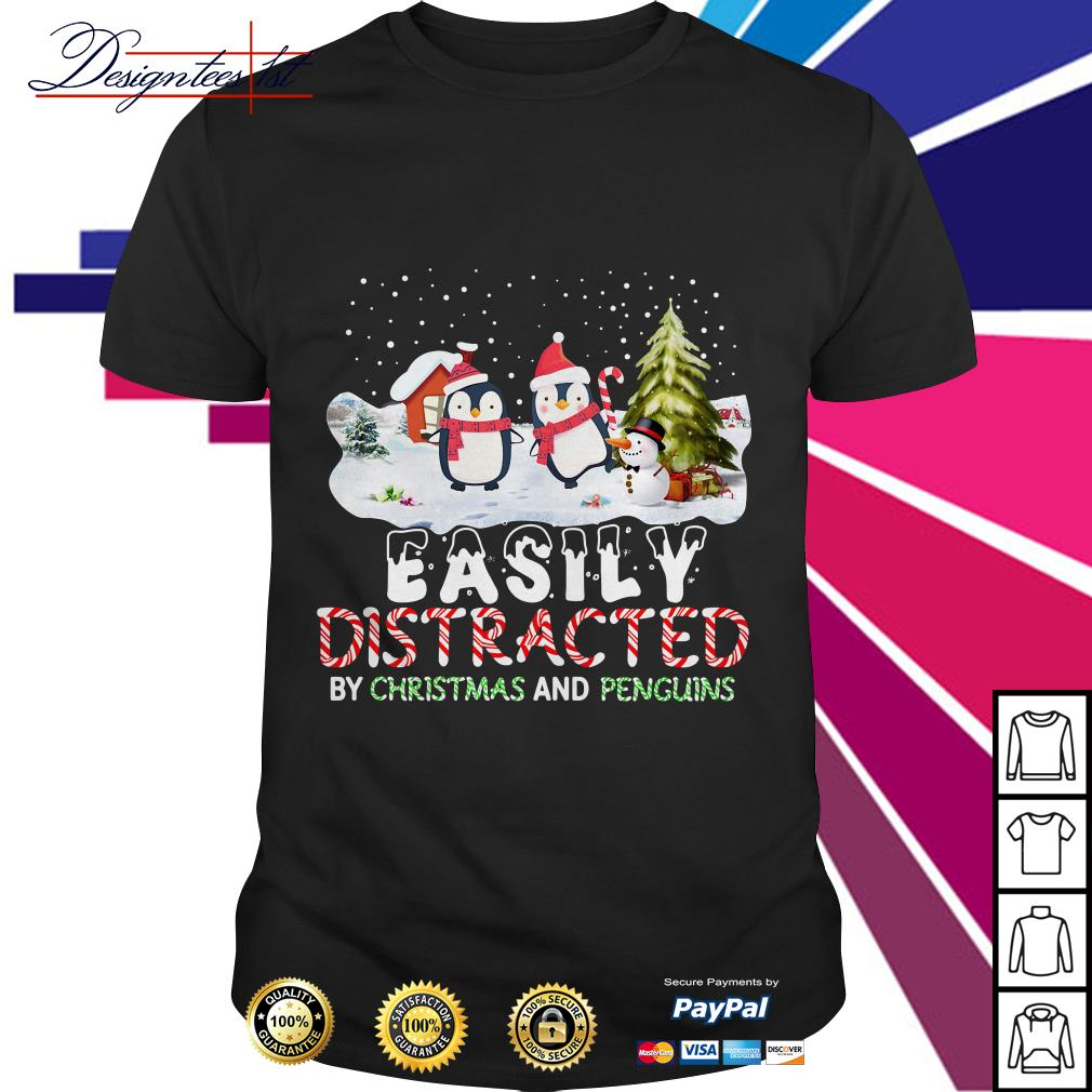 Easily distracted by Christmas and Penguins shirt