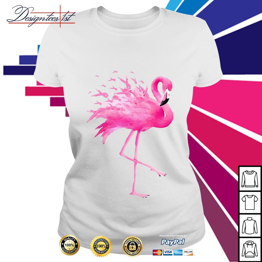 Flamingo pink ribbon breast cancer awareness Ladies Tee