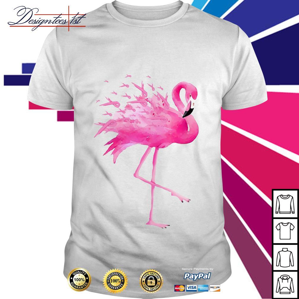 Flamingo pink ribbon breast cancer awareness shirt