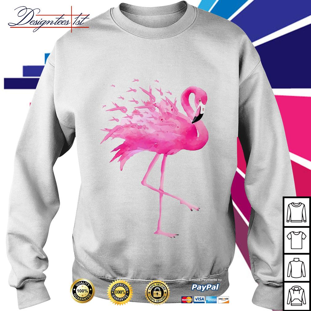 Flamingo pink ribbon breast cancer awareness Sweater