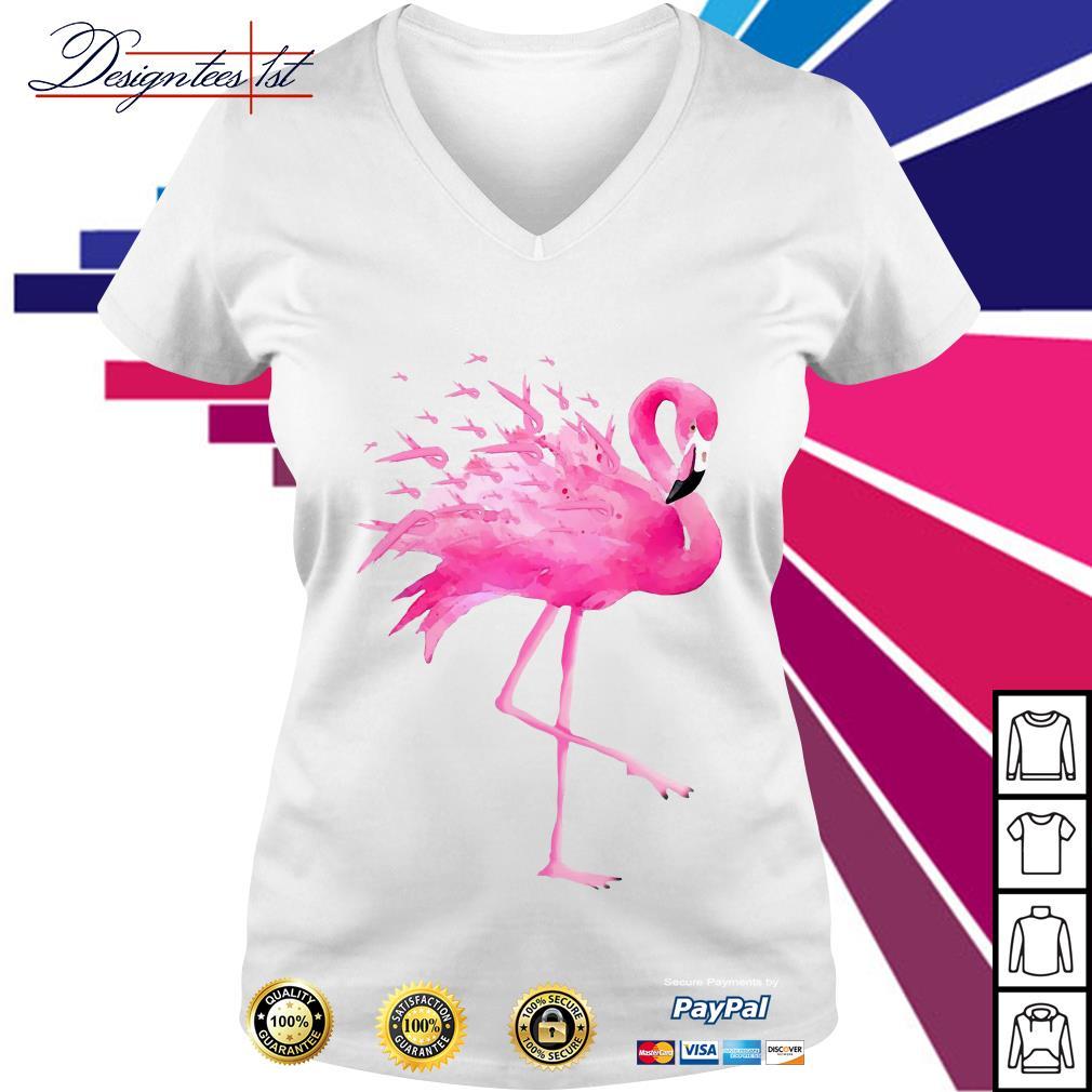 Flamingo pink ribbon breast cancer awareness V-neck T-shirt