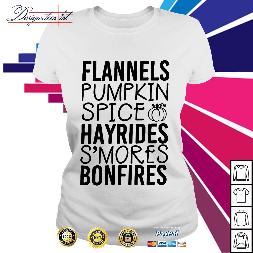 Flannels pumpkin spice hayrides s'mores bonfires Ladies Tee
