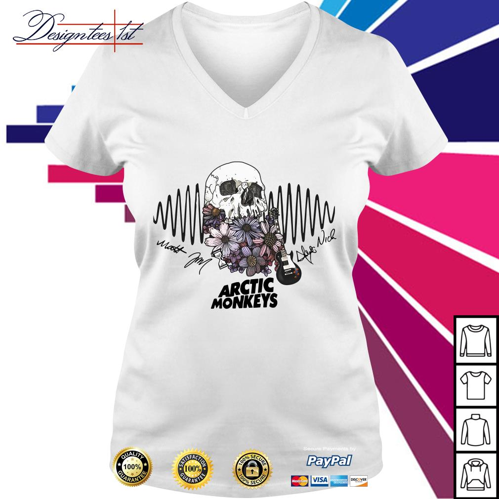 Floral skull Arctic Monkeys signature V-neck T-shirt