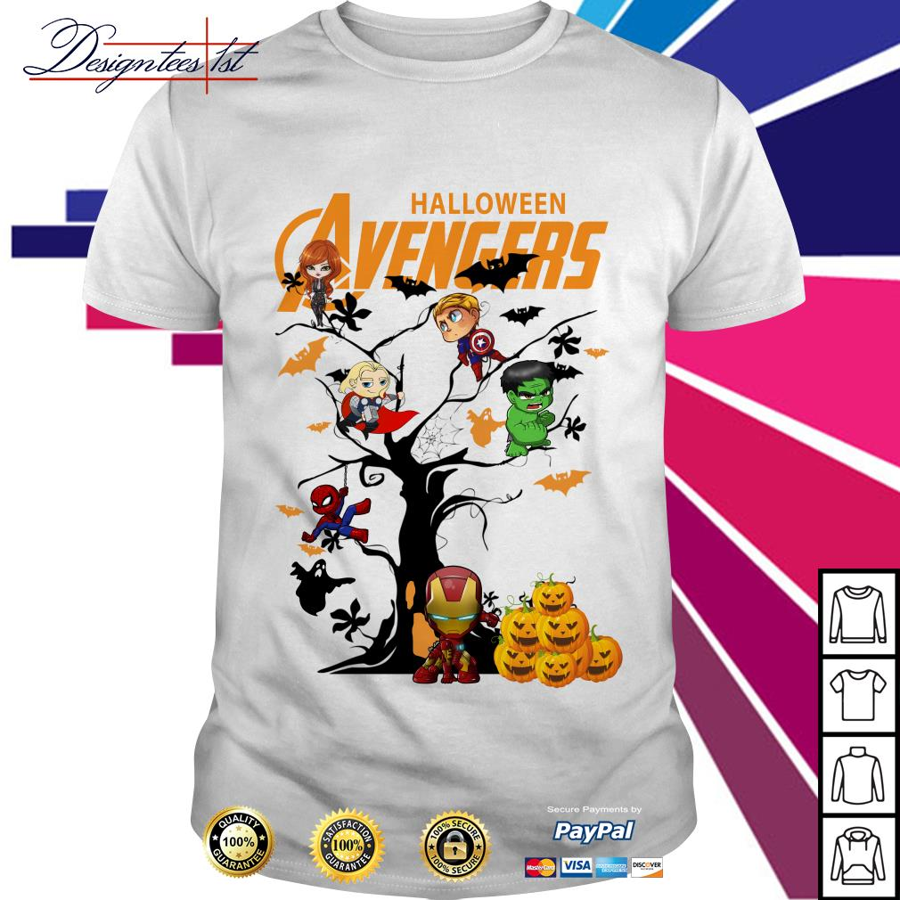 Halloween Avengers character tree shirt