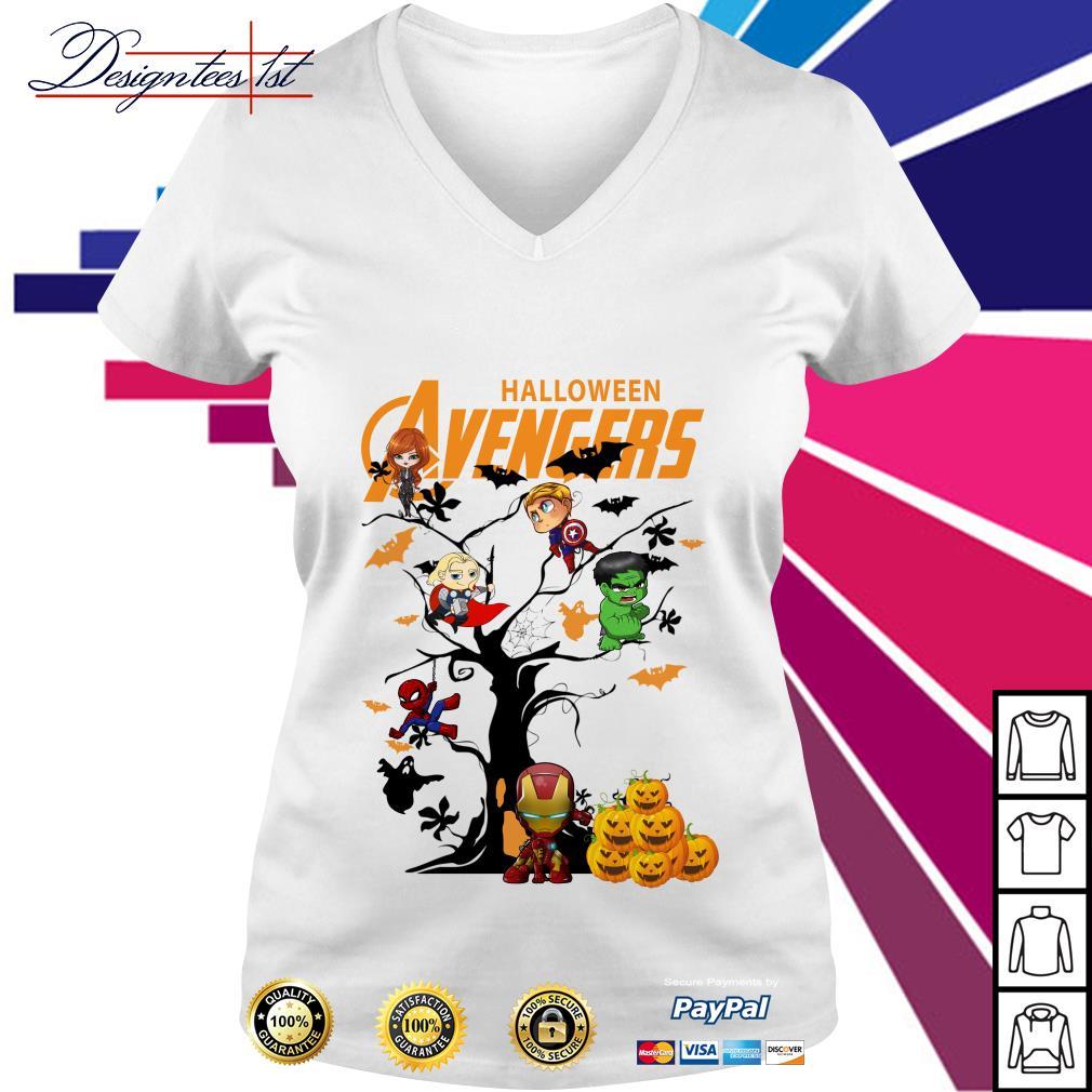 Halloween Avengers character tree V-neck T-shirt