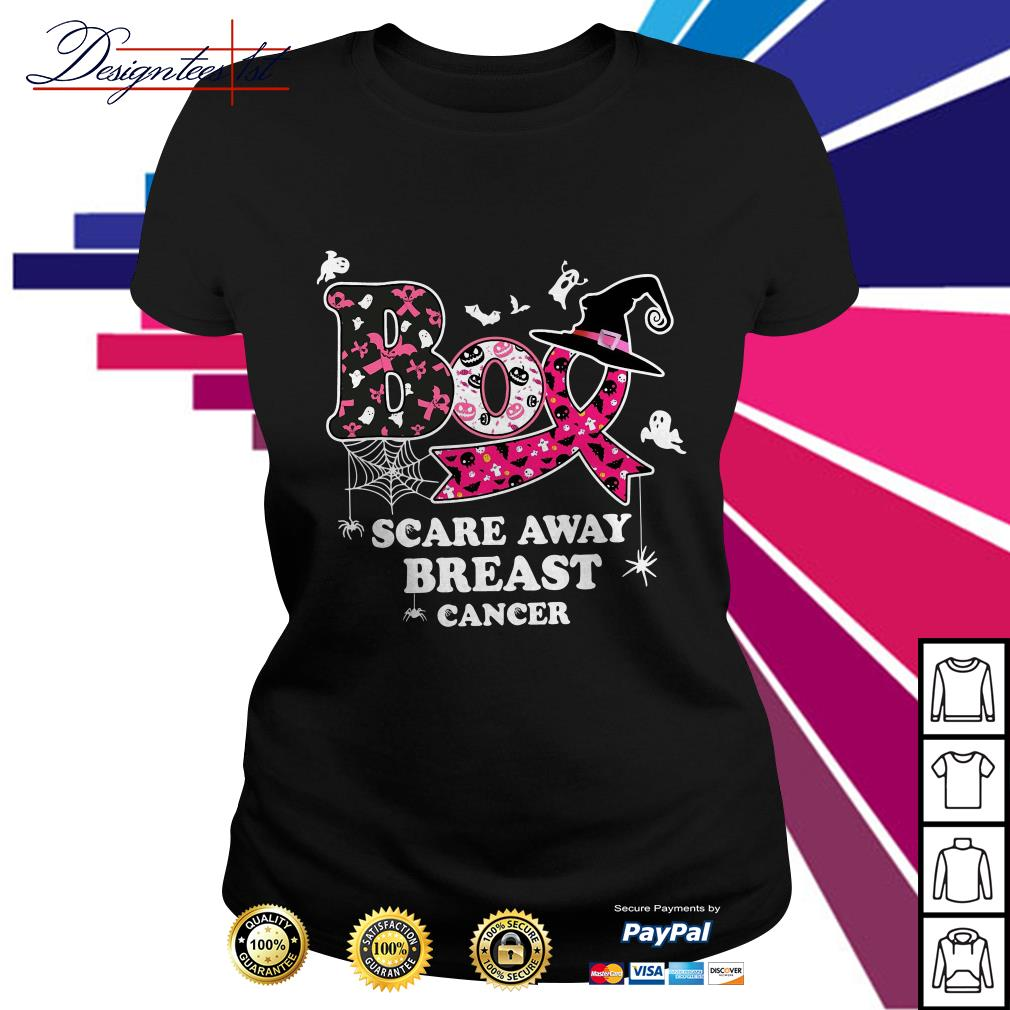 Halloween Boo scare away breast cancer Ladies Tee