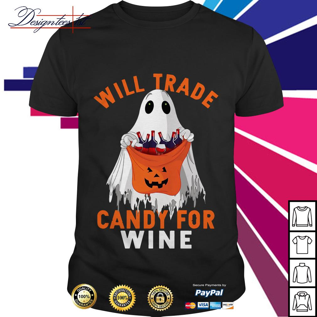 Halloween ghost will trade candy for wine shirt