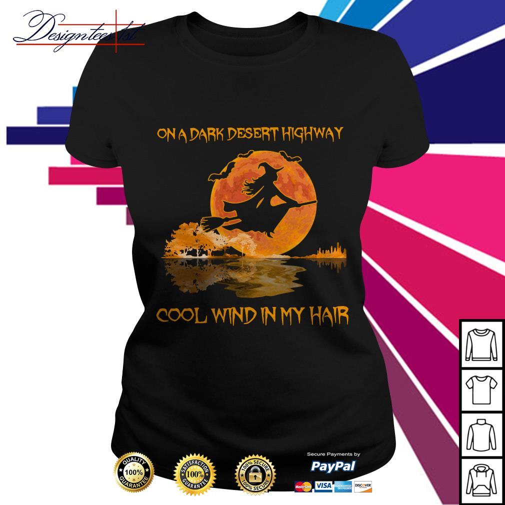 Halloween guitar witch on a dark desert highway cool wind in my hair Ladies Tee