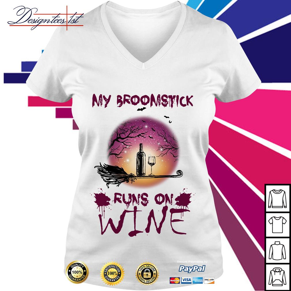 Halloween my broomstick runs on wine V-neck T-shirt
