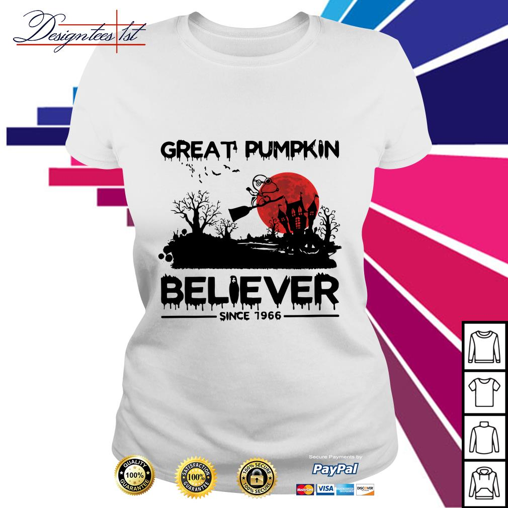 Halloween Snoopy great pumpkin believer since 1966 Ladies Tee